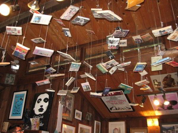 Henry Miller Memorial Library,  books hanging from ceiling