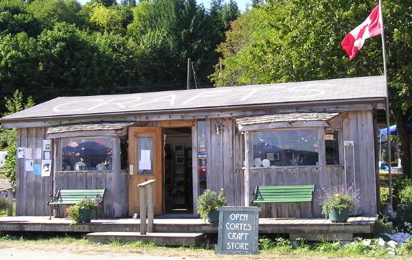 Front entrance to Cortes Craft Shop in Squirrel Cove, Desolation Sound