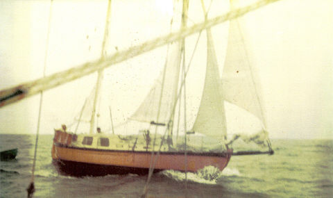 Bob and Rosemary Clarkson sailing Te Rapunga, 1974